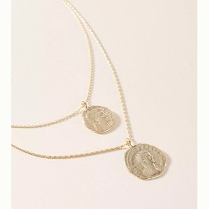Anthropologie gold double coin necklace
